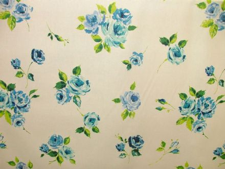 "Prestigious Textiles ""Ella"" Indigo Floral Cotton Curtain/Soft Furnishing Fabric"